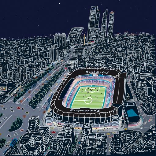 Madrid Estadio Santiago Bernabéu Jorge Arranz Dibujante Cuadros De Ciudades Tienda On Line